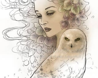 Digital Stamp - Winter Lullaby - Woman with Hellebore Flowers and Snowy Owl - Fantasy Line Art for Cards & Crafts by Mitzi Sato-Wiuff