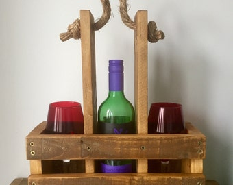 Wine bottle and glass carrier
