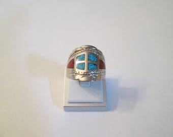 Sterling Silver, Turquoise and Coral Ring Size 10.5