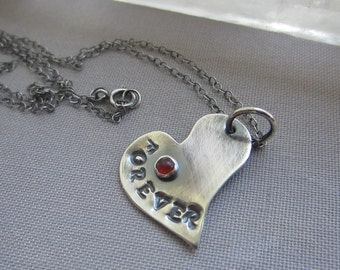 Personalized Heart Necklace/ Silver Heart Necklace/Oxidized Sterling Silver Heart Necklace/ Charm Necklace with Carnelian