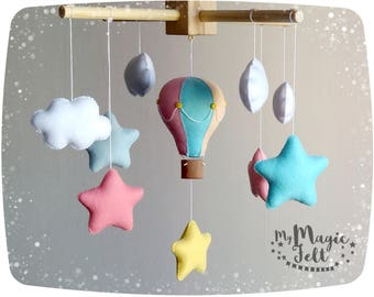 Baby girl mobile Crib mobile hot air balloons Nursery mobile clouds and stars mobile Pink baby mobile Travel nursery mobiles Baby shower