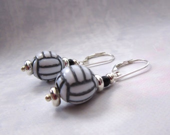 Volleyball earrings - volley ball jewelry - I will be happy to serve them up for you - novelty sports gift