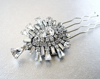 Gorgeous Vintage Jewelry Hair Comb Keystone Rhinestone Jeweled Hairpiece Something Old 20s Boho Chic Bride Wedding Bridal Formal Headpiece
