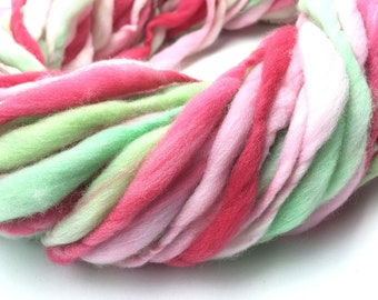 Hand spun yarn, super bulky, in thick and thin merino wool - 52 yards, 3.25 ounces/92 grams