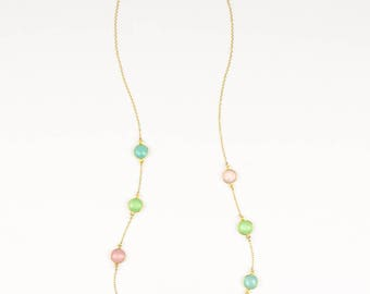 Aqua Chalcedony necklace, Green Pink chalcedony necklace, colorful necklace, long necklace, station necklace, statement necklace multistone
