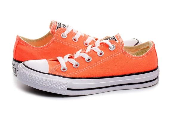 Orange Converse Hyper Red Canvas Low Top Wedding Kicks Custom w/ Swarovski Crystal Rhinestone Bling Chuck Taylor All Star Sneakers Shoes