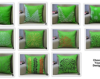 Green Pillow Cover Set of 2, Linen Pillow Floral Embroidery, Mix Match, Home Decor, Embroidered Couch Pillow, Floral Toss Pillow, Cushion