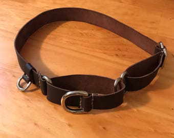 Leather Martingale Dog Collar, mini dog tag D ring; Genuine & personalizable by Emeny