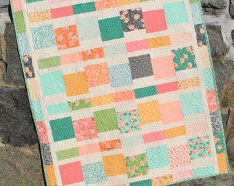 """PDF Baby Quilt PATTERN...uses 5"""" Squares, EASY and Quick, Jumping Jacks"""