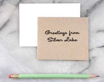 Greetings From Silver Lake, set of 4 cards with envelopes
