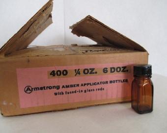 Vtg pharmacy bottles, 72 applicator jars, deadstock NOS, 1/4 ounce bottles, essential oil bottle, old medicine bottles, vintage pharmacy