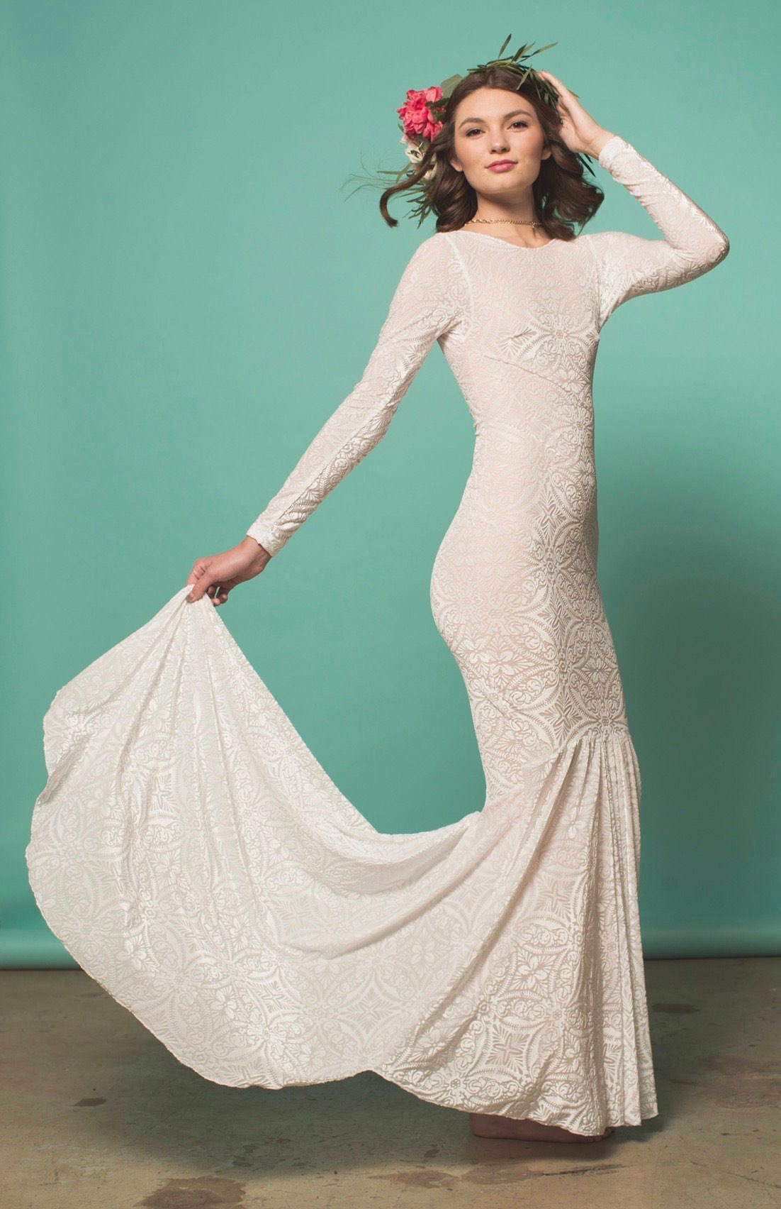Boho Wedding Dress Wedding Dress Long Sleeved Wedding Dress