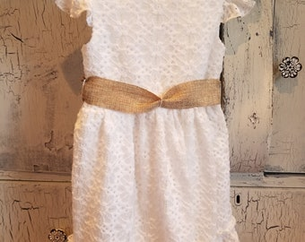 White Lace Girls Dress with Burlap Ribbon Size 4t