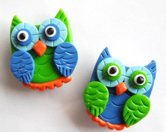 Magnet Owls handmade polymer clay magnets ( 2 )