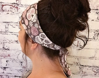 Sugar Skulls - Brown - Eco Friendly Yoga Headband