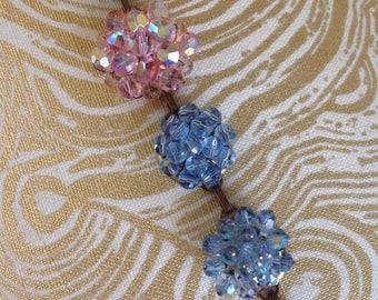 Vintage Rhinestone cluster bracelet blue and pink