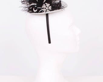 READY TO SHIP: Sassy Sterling Mini Top Hat Headband - Silver Black - Fits toddler to adult - Cutie Patootie Designz
