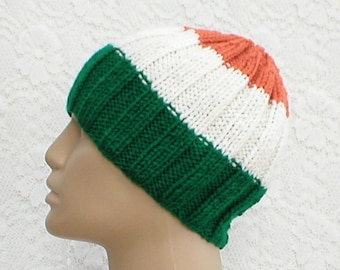 Green white orange beanie hat, skull cap, Irish hat, striped hat, toque, mens womens knit hat, chemo cap, Irish flag hat, skateboard, hiking
