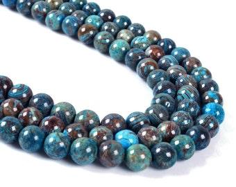 "8MM047 Blue veins stone round ball loose gemstone beads 16"""