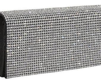 New Rhinestone and Black Faux Leather Evening Clutch Bag