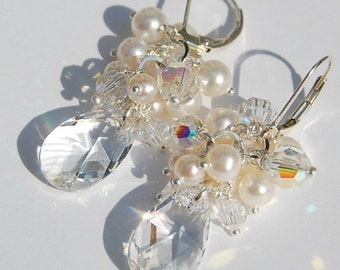 Bridal Earrings, Swarovski Crystal and Pearl Cascade Cluster, Wire Wrapped on Sterling Silver Leverbacks, Andrea