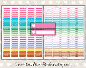 Heart Labels Planner Stickers, Erin Condren Printable Stickers, MAMBI Happy Planner, Rainbow, Bright, Colorful, PDF - Instant Download