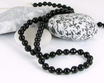 Sparkly Handknotted Black Onyx and Sterling Silver Adjustable Necklace