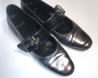 VENISE COLLECTION Mary Jane Shoes Silver Patent Leather 38-1/2 Made in Italy