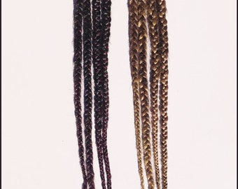Pair of Double Ended Long Hair Braids on black elastic lace-CUSTOM MADE