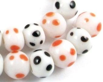 HALLOWEEN Lampwork Glass Bead Set-White + Black & Orange Dots 7mm (30)