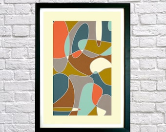 Printable Mid Century Modern art, Abstract art, Minimalist art, Printable art, Geometric art, Scandinavian art, Modernist art, Home Decor