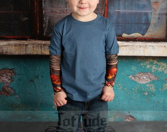 Blue T Shirt with Heart Tattoo Sleeves