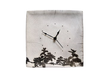 Clock Ceramic raku Vine Branch
