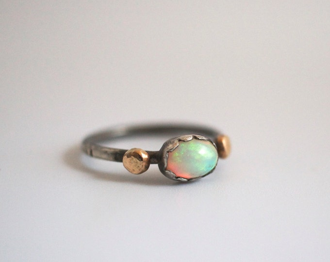 opal engagement ring, 14k stack, alternative wedding, Ethiopian welo, gold nugget, sterling silver textured oxidized band, promise ring
