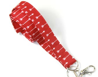 RED ARROWS fabric lanyard, Arrows badge holder, Red lanyard, Red arrows lanyard, Red arrows badge holder