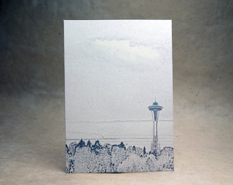 5x7 inch Print at Home Invitation Panels - 100% Recycled Seattle Space Needle Print set of 6