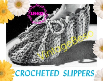 Slippers Crochet PATTERN • Vintage 1960s Stripes and Taosty Booties • Digital Download • Instant Download • PDF Pattern