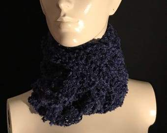 Nice blue knitted scarf.