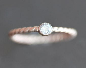 Moissanite Engagement Ring - Solid 10K ROSE Gold Twist Band - 3.5mm Ethical Gemstone on 2mm Ring (Size 3 - 9) - Recycled Eco Metal