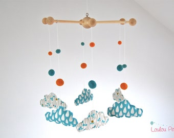 Mobile baby clouds - wood, fabric and organic cotton - blue yellow white - drops and dots