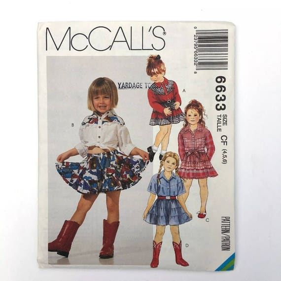 McCalls 6633 Cowgirl Outfit Western Wear Tiered Broomstick Skirt ...