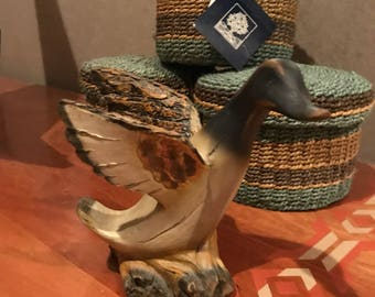 Vintage porcelain carved duck