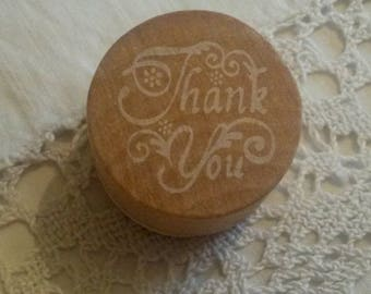 """Wooden stamp / message """"Thank you"""" ink"""