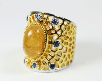 Mid Century Style (1933-1965) Silver Gold Plate Blue Sapphire and Yellow Rutilated Quartz Ring Size: P 1/2-7 3/4