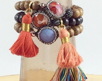 Druzy Agate and Forbes Wood Tassel Bracelets