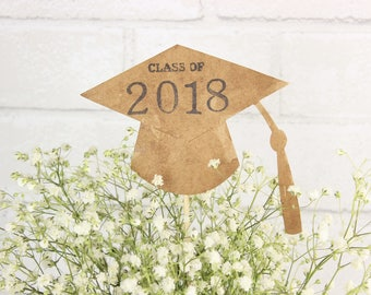 Rustic Graduation Party Decor Set Of 4 Class 2018 Kraft Paper Table Centerpiece