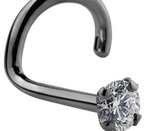 1.5mm .015 ct. tw Diamond 14K Black Gold Nose Ring Twist