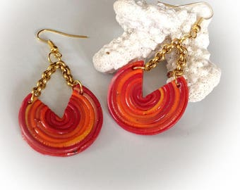 Earrings, hoop, oranges, reds, polymer clay.