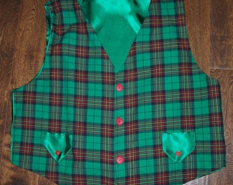 Green Plaid Santa Vest custom made to order