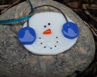 Snowman ornament cobalt blue earmuffs